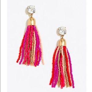 J.Crew Beaded Tassel Earrings Pink Yellow